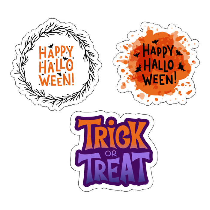 Happy Halloween Trick or Treat Stickers (3 Pack)
