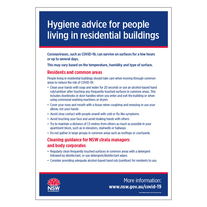 Hygiene Advice Residential NSW Health