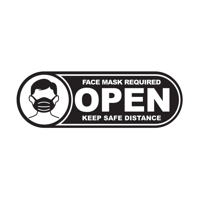 Open Face Mask Required Black 250 x 85mm