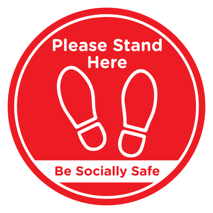 Please Stand Here Red 250 x 250mm