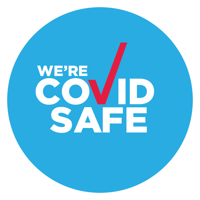 We're COVID Safe Floor Sticker 250 x 250mm