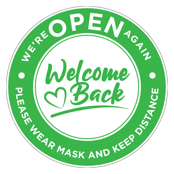 Welcome Back We're Open Again Green 200 x 200mm