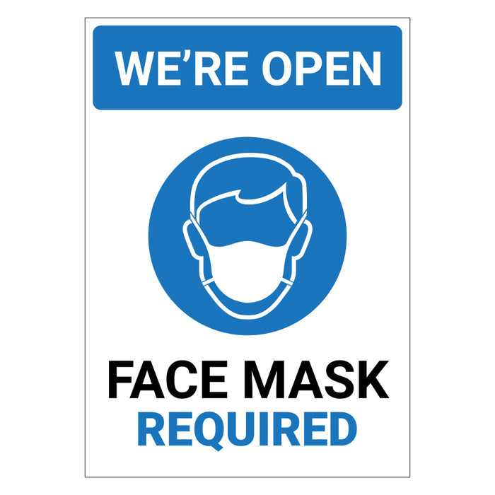 We're Open Face Mask Required Blue