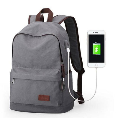 Muzee Men Canvas Backpack With Usb Charger