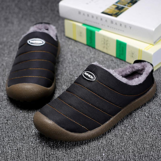 Men Winter Cotton-padded Water-resistant Faux Fur Warm Flat Shoes Cotton Slippers