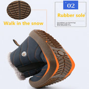 Men's Winter Warm Push Ankle High Wedge Waterproof Rubber Hiking Snow Boots