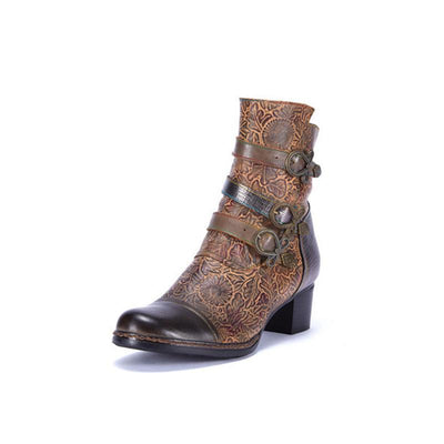 LAURA VITA Pressed Flower Hand-colored Genuine Leather Boots