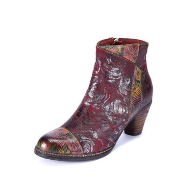 LAURA VITA Retro Hand Painted Splicing Pattern Genuine Leather Zipper Ankle Boots