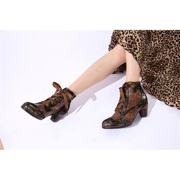 Retro Heel Genuine Leather Ankle Boots