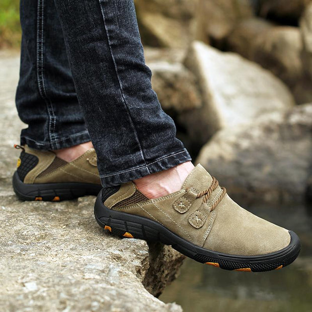 Men Hiking Pigskin Leather Slip Resistant Outdoor Casual Shoes