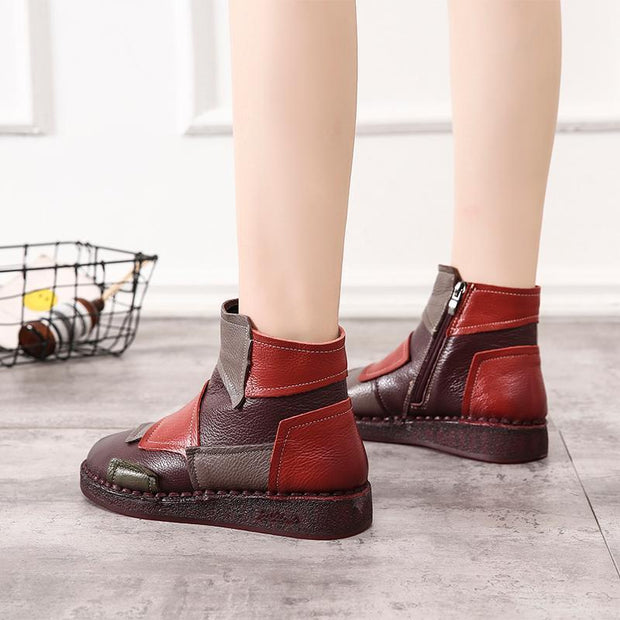 Women Genuine Leather Ankle Boots with Warm Faux Fur