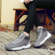 Women's Lace Up Flying Woven Plush Cotton Snearkers
