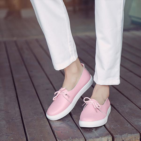 Ladies Casual Genuine Leather Bow Flats