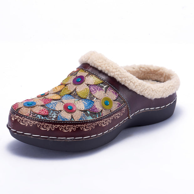 LAURA VITA Casual Clover Pattern Hand-colored Genuine Leahter Warm Flat Shoes Cotton Slippers
