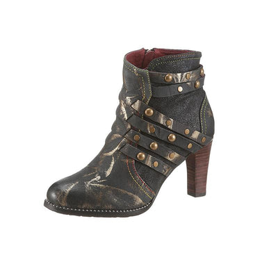 117401 LAURA VITA Women Retro Genuine Splicing Leather Pattern  Ankle  Boots