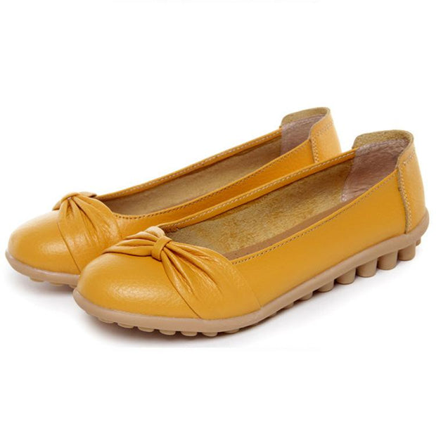 Women Flat Shoes Bowknot Loafers Women's Fashion genuine leather Shoes lace up Female Footwear 117618