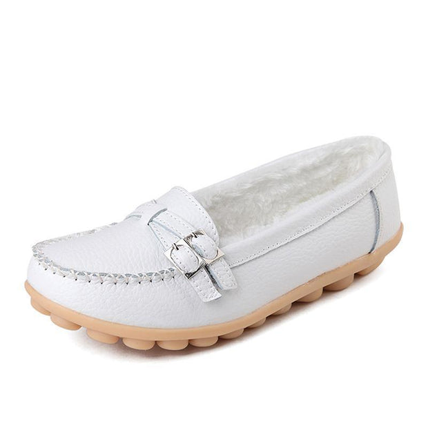 Female Winter Fur Women Loafers Slip-on Leather Ladies Flats Warm Plush Driving Boat Shoes Moccasins 117275