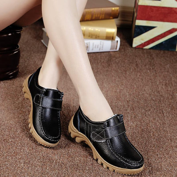 Women Genuine Leather Plush Cotton Hook&loop Sewing No-slip Loafers