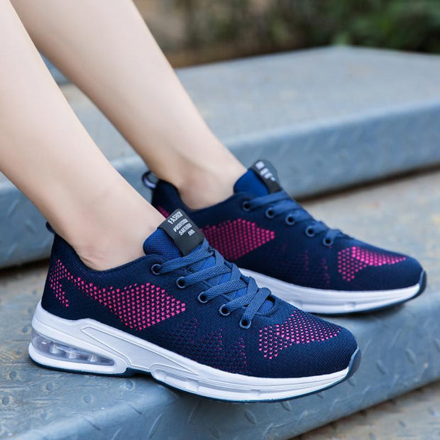 New Casual Sports Korean PU Air Cushion Flying Woven Women's Shoes 117409