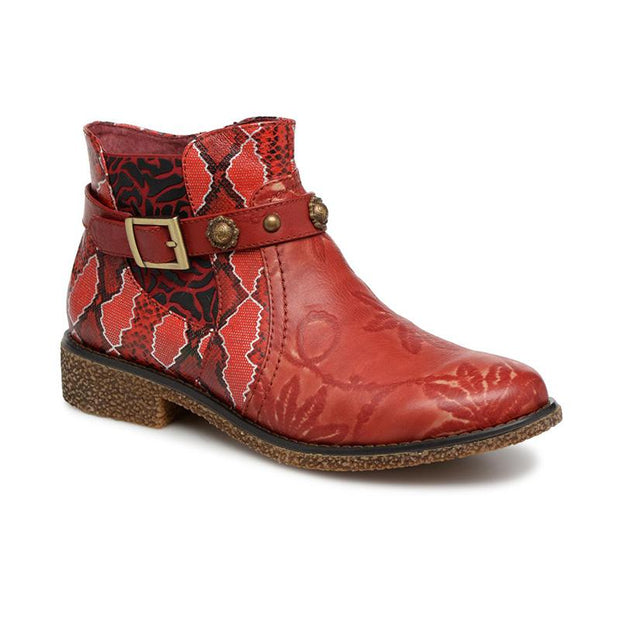 Retro  Genuine Leather Zipper Handmade Printed Original Style Comfortable Ankle Boots