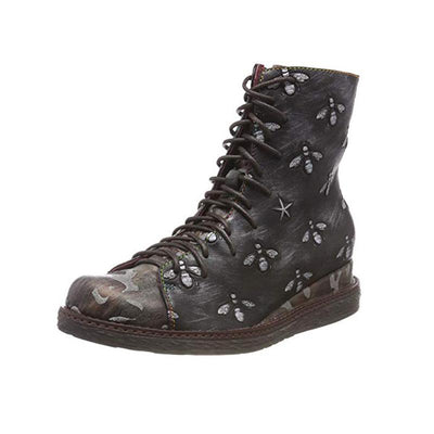 118104 LAURA VITA Retro  Vintage Genuine Leather Zipper Handmade Original Style Ankle Boots