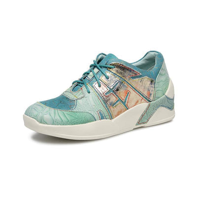 118127 LAURA VITA Women Handmade Printing Color Genuine Leather Sports Shoes