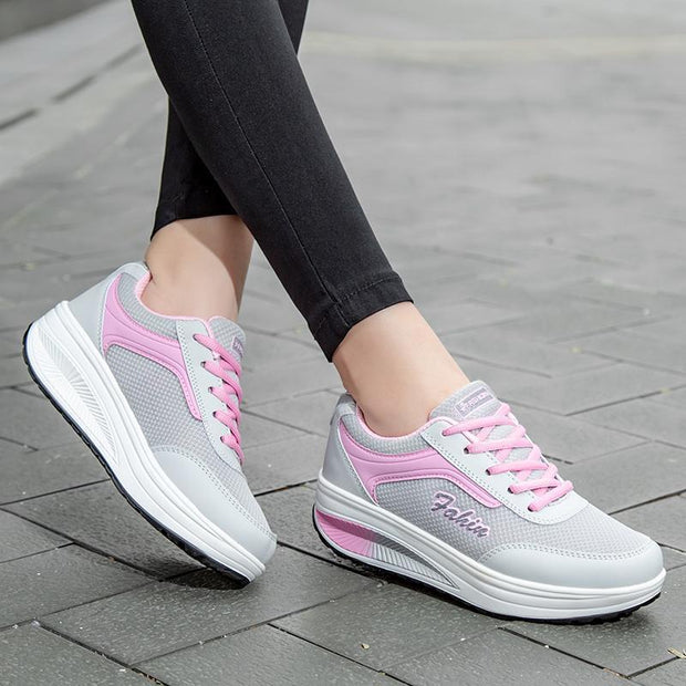 Women's Rocking Shoes Mesh Women's Shoes Increased Soft Bottom Travel Fitness Shoes 117765