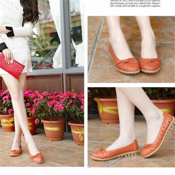 Women Flat Shoes Woman Summer Flats Hollow Out Comfortable Soft Genuine Leather Loafers Shoes
