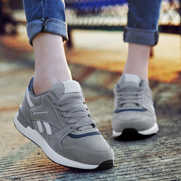 Women Autumn and winter new casual shoes shock sneakers trend pigskin plus velvet running shoes 117780