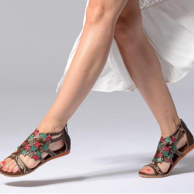 118870 LAURA VITA Brie 07 Retro Genuine Leather Zipper Handmade PAINTED LASER Original Comfortable SANDAL