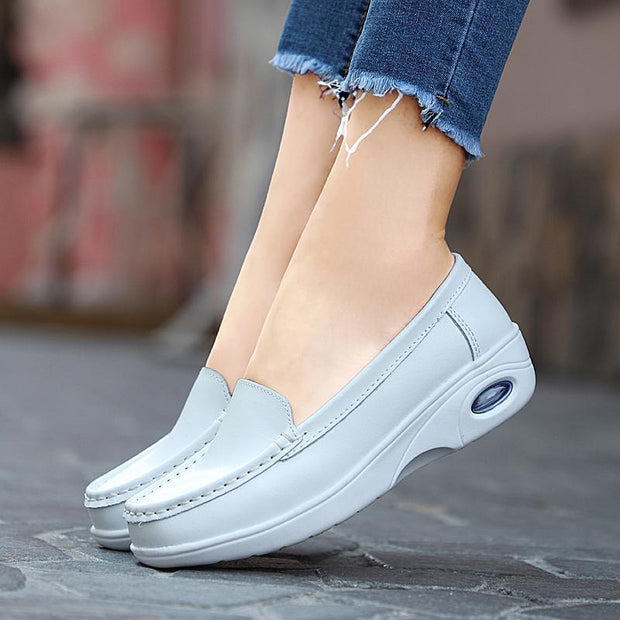 Casual Women Loafers Cow Leather Round Head Girl White Shoes  118817