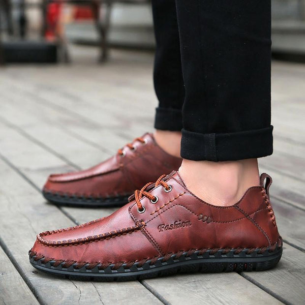 Men's Leather Fashion Handmade Outdoor Casual Lace-up Flats