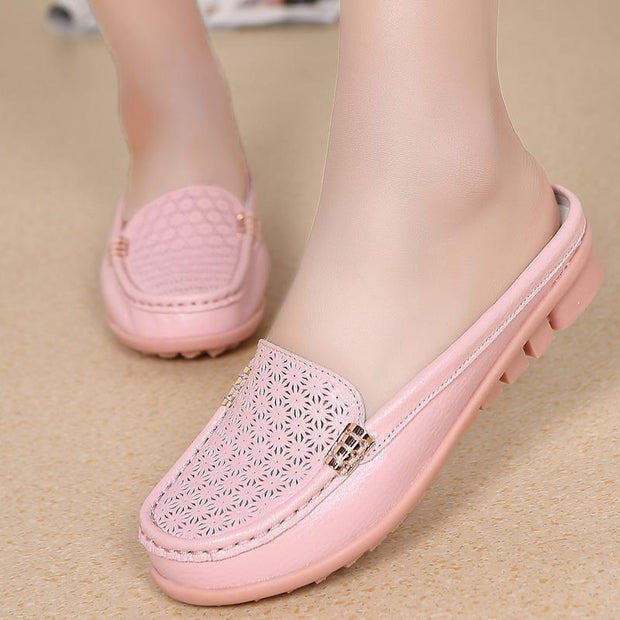 Women's Genuine Leather Hollow Breathable Non-slip Flat Slippers