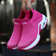 Women Breathable Lightweight Flying Woven Air Cusion Sneakers