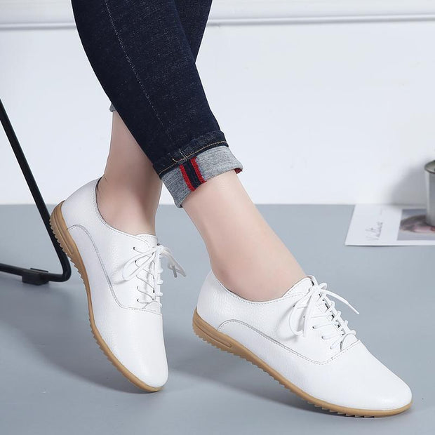 Women's large size leather low to help casual white shoes with women's shoes 117362