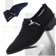 Men's Fashion Lace-up Office Shoes Pointed Leather Shoes Male Business Shoes Canvas Dress Shoes