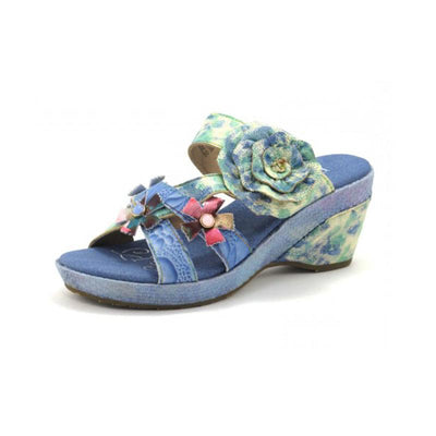 120025 LAURA VITA BEAUTE 05 Retro Genuine Leather Painted VELCRO Handmade Original Comfortable SANDAL