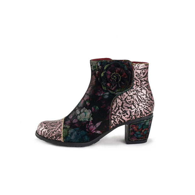 LAURA VITA Vintage Flower Pattern Genuine Leather Splicing Jacquard Zipper Low Heel Ankle Boots