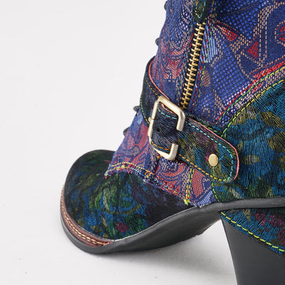 120275 LAURA VITA Retro Pattern Printed handmade Lace Up Genuine Leather zipper Comfortable Boots