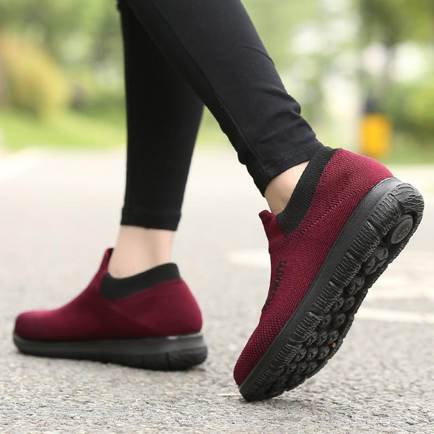 Women Spring lightweight flying woven breathable old man shoes comfortable lazy shoes 120375