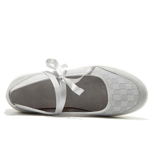 Women's  Breathable Ribbon Rocking Plateform Sneakers