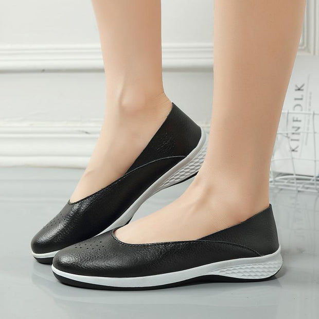 Women Genuine Leather  Hole Shallow Casual Shoes