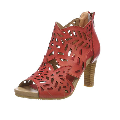 122398 LAURA VITA ALBANE 048 Retro CHIC Genuine Leather Handmade PAINTED ZIPPER LASER ANKLE SANDAL