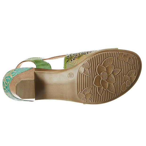 122413 LAURA VITA BETTINO 15 VERT CHIC Genuine Leather Handmade PAINTED VELCRO LASER SANDAL