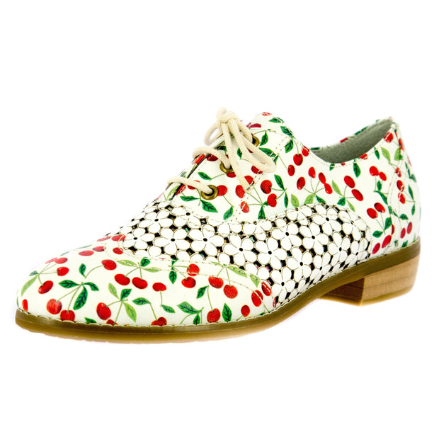 122472 LAURA VITA CLAUDIE10 Retro CHIC Genuine Leather Handmade PAINTED LASER LACE UPS