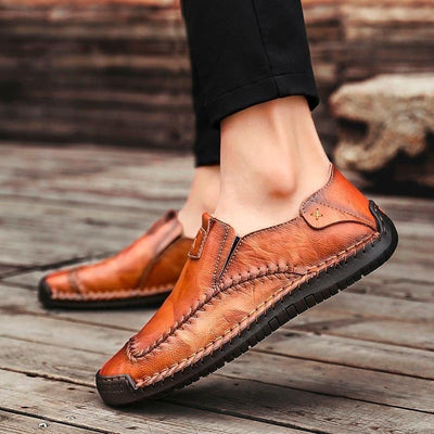 Men's Retro Leather Fashion Soft Casual Shoes Slip-on Loafers
