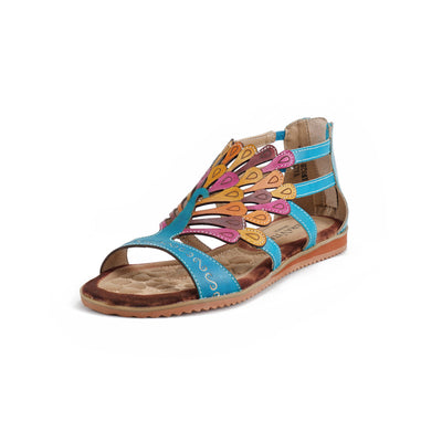 122236 LAURA VITA VACA Retro Genuine Leather Zipper Handmade PAINTED LASER Original Comfortable SANDAL