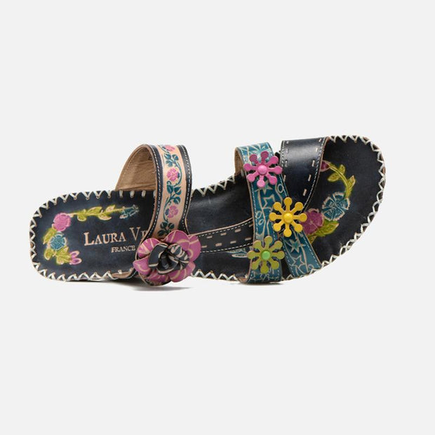 122694 LAURA VITA Vasco Retro Clover Pattern Hand-colored Genuine Leather VELCRO sandal shoes