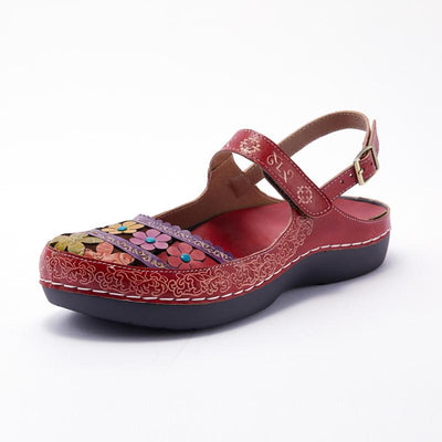 122190 LAURA VITA BRCUELO 4319  Retro Genuine Leather Handmade PAINTED VELCRO Original Comfortable SANDAL