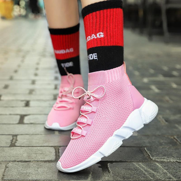 Women's Casual Breathable Sneakers Elastic Stockings High Shoes Increased Shoes